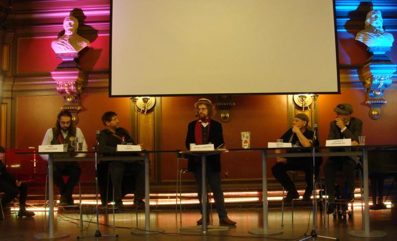 Paneldiskussion tillsammans med Emil Jonasson, AR Yngve, Oskar Hejjl och Gunnar Söderberg.